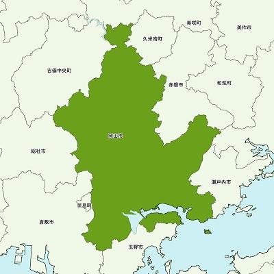 岡山市の地図